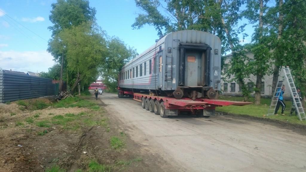 перевозка жд вагона на трале